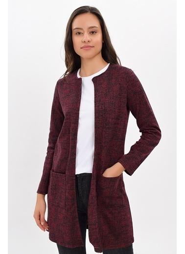 Cottonmood 9427106 Cam Kırığı Desenli Cepli Uzun Ceket Lacivert Bordo